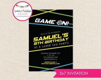 DIY, Laser Tag Birthday Party INVITATION