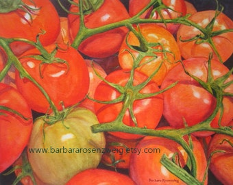 Tomato Kitchen Art, Vegetable Watercolor Painting, Kitchen Wall Decor, Tomato Art Print, Restaurant Art Decor, Vegetable Food Decor Art Gift