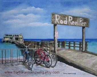 Anna Maria Island Print, Beach Painting, Beach Print Fishing Pier Coastal Decor Rod & Reel Pier Bike Art Coastal Watercolor Beach Home Decor