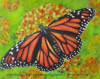 Butterfly Painting, Monarch Butterfly Print, Butterfly Wall Art, Butterfly Watercolor, Monarch Garden Decor, Nursery Decor, Child Room Decor