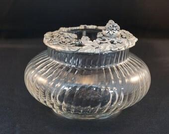 Rawcliffe Pewter and Glass Dresser Jar Potpourri 1995 Flowers