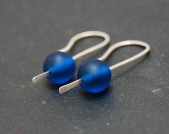 Earrings, Mediterranean Blue, Modern, Geometric,  Sterling Silver