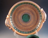 Beautiful Green Chip And Dip Plate, Texturing, Green Tiles, Decorative Handles, Green Cup, Ready To Ship