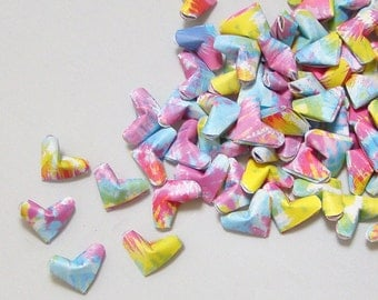 Small Origami Hearts (100): Crazy and Chaotic Tie Dye Hearts