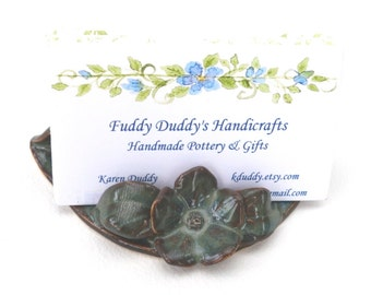 Business Card Holder  // Business Card holder for desk // Ceramic Business Card Holder With Flower in Blue Green