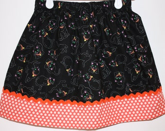 Black Cats Halloween Skirt  Size 2 to 8