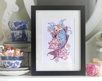 Japanese Koi Carp and Lotus flower tattoo print