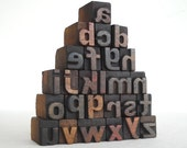 A to Z- 26 Mini Letterpress Vintage Wooden Alphabets Lower Case - Mini Series - VM034