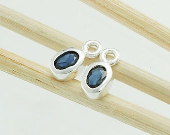 2 of Natural Oval Sapphire& Sterling Silver Bezeled Charms 4x5 mm.  :tm0014