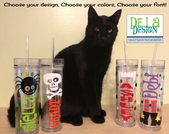 Halloween design, polka dots, Personalized w/name acrylic tumbler, Available in skinny, standard, sport bottle, mason, kiddie cup & XL cup