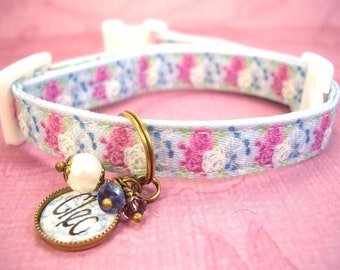 Safety Cat Collar - Mini Dog Collar - Breakaway Collar - Personalized Collar - Violet and White Roses - Gemstone Charm - Toy Dog Collar