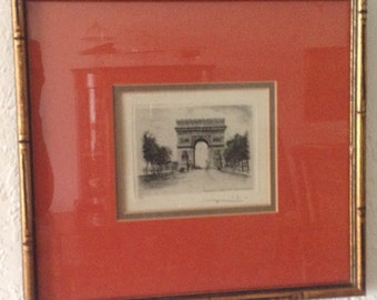 Vintage Original Signed Leopold Robin Etching of Paris l'Arc de Triomphe / ON SALE