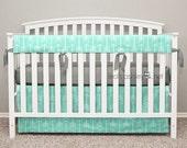 Bumperless Crib Bedding - Crib Skirt, Teething Crib Rail Cover - Mint Arrows, Gray Ribbon Ties - Quinn - TS0