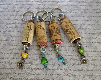 Evil Eye and Skull themed set of four cork key chains