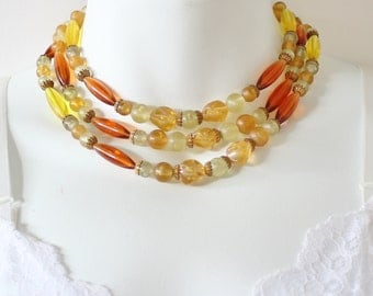 Vintage Goldtone Multi Three Triple Strand Gold Tone Yellow Amber Orange Tubular Lucite Beaded Adjustable Multistrand Necklace