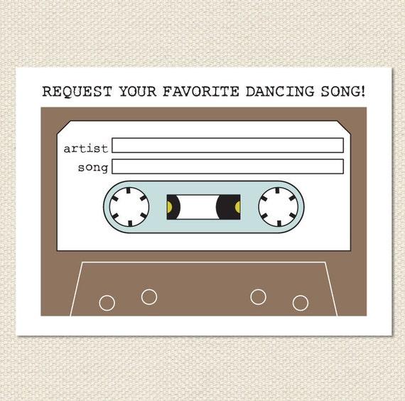 Wedding Song Request Mixtape Card Instant Download
