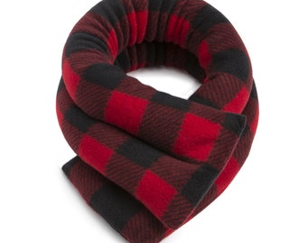 Microwave Hot Cold Neck Wrap, 5x26, Buffalo Plaid Red, Rice-filled, Moist Heat, Anti-pil Fleece, Spot Clean
