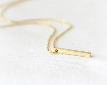 Vertical Bar Necklace / textured bar necklace, gold, silver