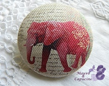 Fabric button, printed elephant