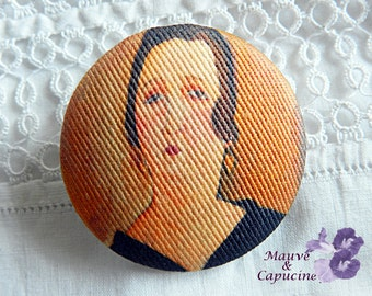 Button out of fabric, printed Modigliani, 0.94 in / 24 mm