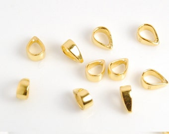 10 pieces: vermeil bail, gold plated over sterling silver bail, simple bail, bright gold color, closed, 3X7mm,  inner dimension 3.5mmX4.5mm