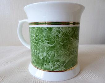 hand painted mug, bone china mug, green mug, china tankard