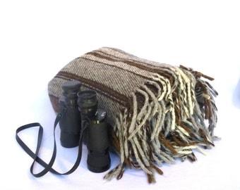 VINTAGE Earthtoned STRIPED BLANKET/ Alpaca or Wool