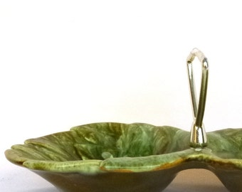 Vintage CALIFORNIA POTTERY Condiment DISH/ Avocado Party Dish