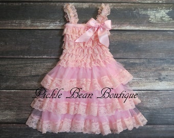 Lace Flower Girl Dress - 9-18 mo - Pink Baby Wedding Dress - Rustic Flower Girl Dress - Cowgirl Dress - Country Flower Girl Dress - Dresses