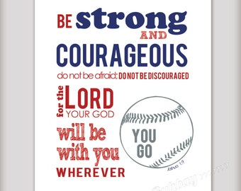 Boy's 8x10 Printable Art - Be Strong and Courageous Joshua 1:9 - Baseball Theme INSTANT DOWNLOAD - Boys Art