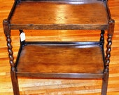 Antique Wooden Two Tier English Table with Turned Legs