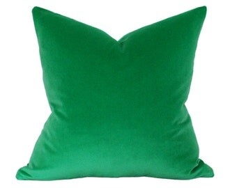 Emerald Green Velvet Pillow Cover 18x18 FLAWED AS-IS