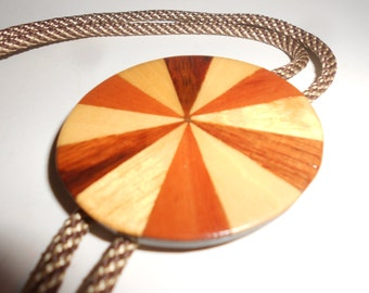 Wood Bolo Tie Marquetry Inlay Round -Stunning Inlay Rare Woods Traditional Southwestern Wear