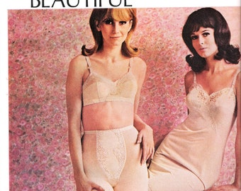 1967 Lingerie Ad Gossard-Artemis Pink Lace Bra Slip & Panty-Girdle Fashion Art Sexy Models Fashion Photography Bedroom Boutique Wall Decor