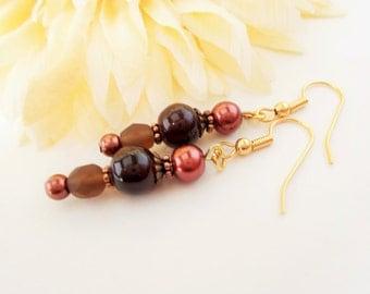 Dark Brown Earrings, Boho Hippie Beaded Earrings, Copper Earrings, Clip On, Gypsy Earrings, Glass Drop Earrings, Ethnic Dangle Earrings