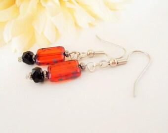 Red Glass Earrings, Picasso Earrings, Nickel Free Earrings, Red and Black Drop Earrings, Beaded Earrings, Boho Earrings, Bohemian Jewelry