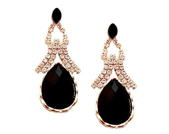 Statement Earrings Jet Black &  Rhinestones on Gold Tone Glamour Chic Spring Summer Style 2016 Fashion