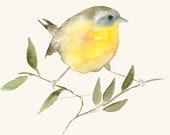 Watercolor Print Little Golden Bird