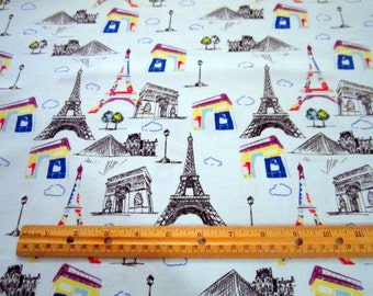 Pepe in Paris Eiffel Towers on Blue premium cotton fabric from Riley Blake