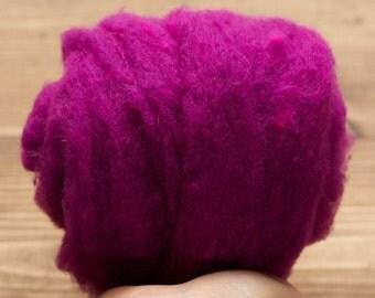 Magenta Needle Felting Wool, Wool Batting, Batts, Wet Felting, Spinning, Dyed Felting Wool, Fiber Art Supplies