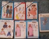 Lot 7 1970s-80s Child Sewing Patterns Newborn-6; Nitecap Moon Baby