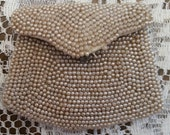 Vintage Ivory Beaded Change Purse with Finger Handle