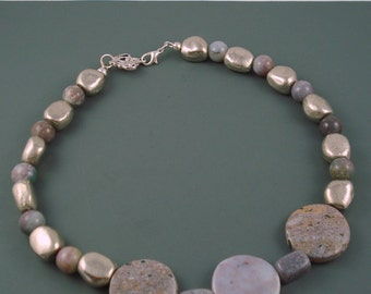 Agate and Jasper Choker Necklace, Lilac Necklace