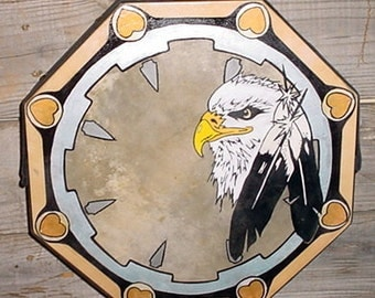 14  Inch Eagle Head Native AM Hand Painted Dance Drum  + Beater, POW WOW