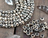Brown & White Infinity Circles : Stained Indian Cow Bone Beads, 6x8mm, 32 beads, Natural Craft, Jewelry Making Supply, Bright Summer