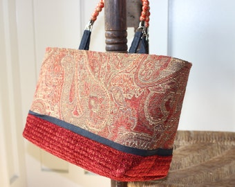 Beaded Handled Red Paisley Tote