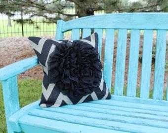 """Chiffon Ruffle Flower Chevron Burlap Pillow Cover 18"""""""