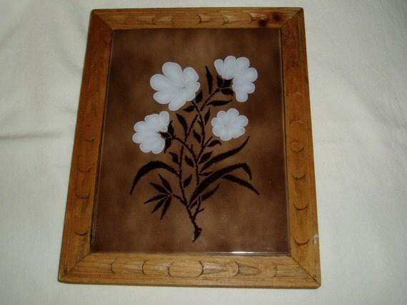 Framed decorative spanish tile floral for Decorative spanish tile