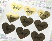 """72 Gold Heart Stickers - Enjoy! Candy Buffet Labels, Gold Foil Heart Labels for Wedding Favors, Welcome Boxes, Party Gifts - 1.5"""" x 1.5"""""""