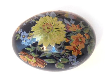 Handpainted Porcelain Egg Vintage Cobalt Blue with Flowers Victorian revival Artisan signed Home Decor Collectible 60s Chic